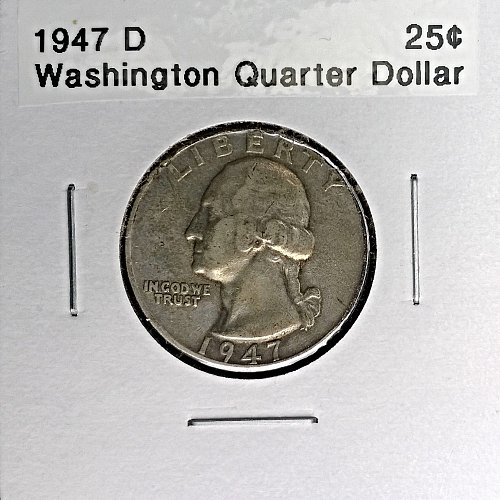 1947 D Washington Quarter Dollar