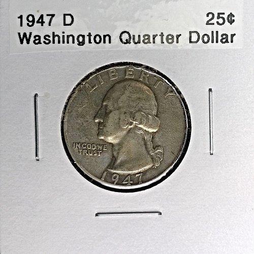 1947 D Washington Quarter Dollar