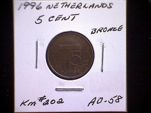 1996 NETHERLANDS FIVE CENT