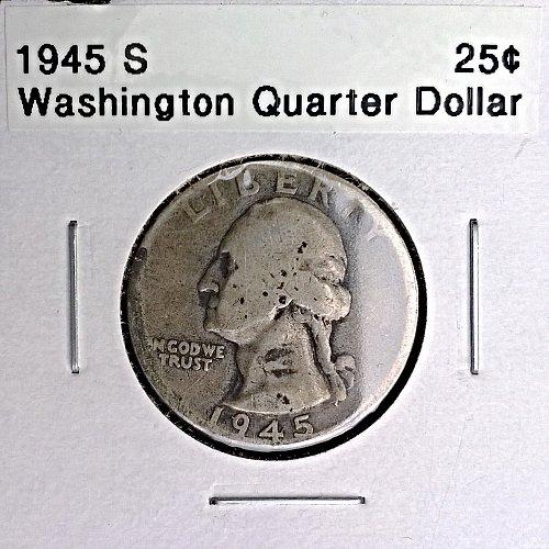1945 S Washington Quarter Dollar
