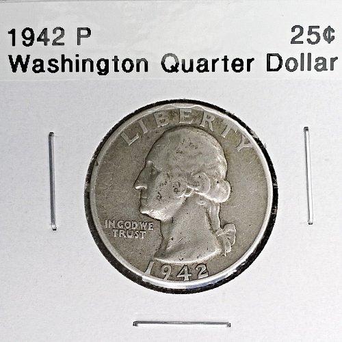 1942 P Washington Quarter Dollar