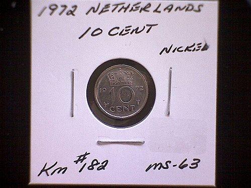 1972 NETHERLANDS TEN CENT