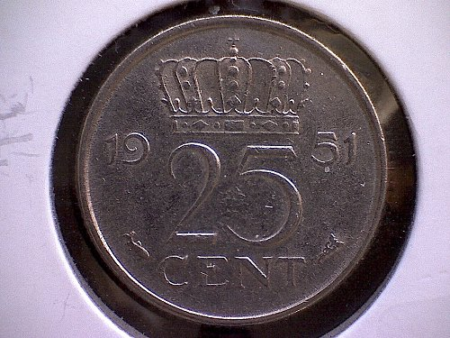 1951 NETHERLANDS TWENTY-FIVE CENTS