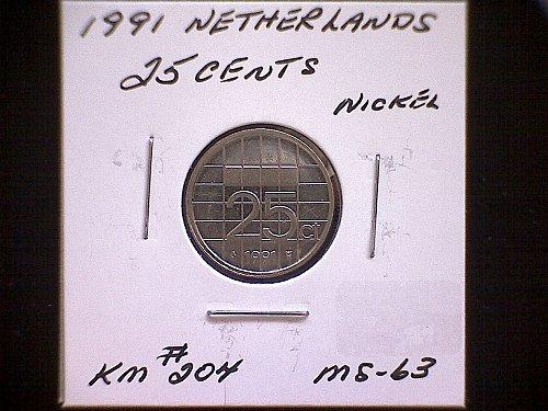 1991 NETHERLANDS TWENTY-FIVE CENT
