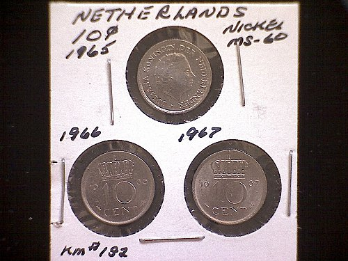 1965-66-67 NETHERLANDS TEN CENT  (3 COIN LOT)