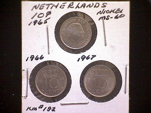 1965-66-67 NETHERLANDS TEN CENT  (3 COIN LOT)