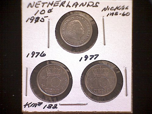 1975-76-77 NETHERLANDS TEN CENTS  (3 COIN LOT)