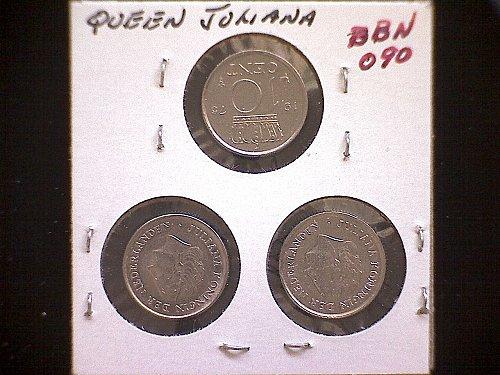 1975-76-77 NETHERLANDS TEN CENTS  (3 COIN LOT)