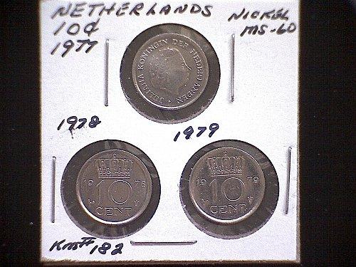 1977-78-79 NETHERLANDS TEN CENT (3 COIN LOT)