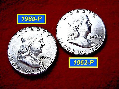 "1960-P & 1962-P  ""MS-62"" Brilliant Uncirculated Franklin's  #1456a"