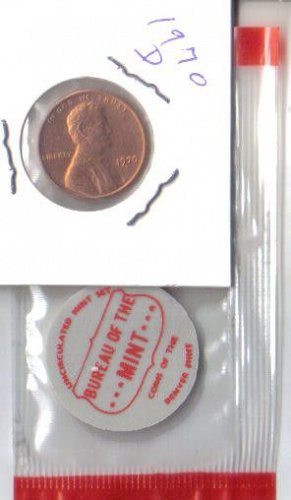 1970 D   LINCOLN CENT WITH DENVER TAG