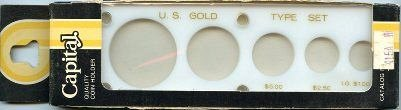 "Capital Plastics ""U.S. Gold Type Set"" 5-Coin Holder - Lg. Gold Dollar - White -"