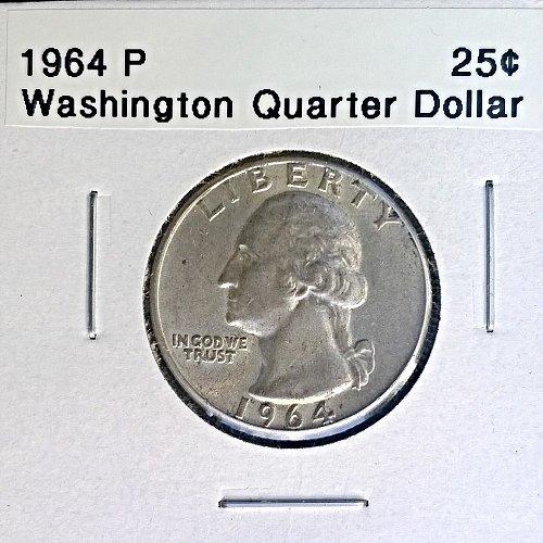 1964 P Washington Quarter Dollar - 4 Photos!