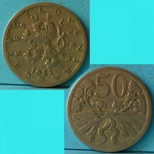 Czechoslovakia 50 Haleru 1922 km 2