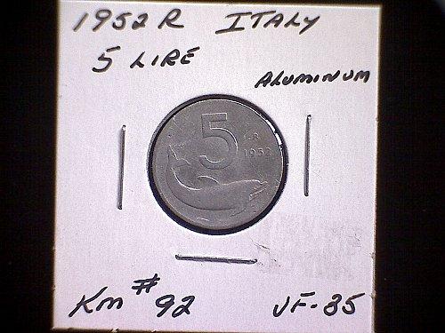 1952R ITALY FIVE LIRE