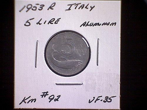 1953R ITALY FIVE LIRE
