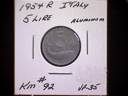 1954R ITALY FIVE LIRE