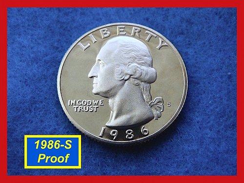 1986-S DEEP CAMEO PROOF Washington Quarter    (#2501)•