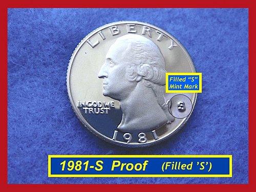 "1981-S Filled ""S"" Variety   DCAM PROOF Washington Quarter    (#2503)•"
