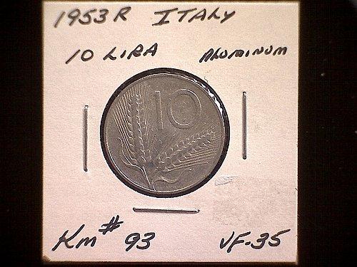1953R ITALY TEN LIRE