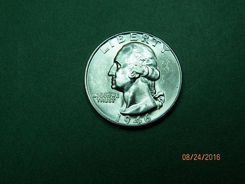 1946 P Washington Quarter Brilliant Uncirculated Gem Coin   h78