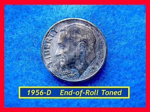 1956-D SILVER DIME • High Grade • • Roll-End Toned (#3431)