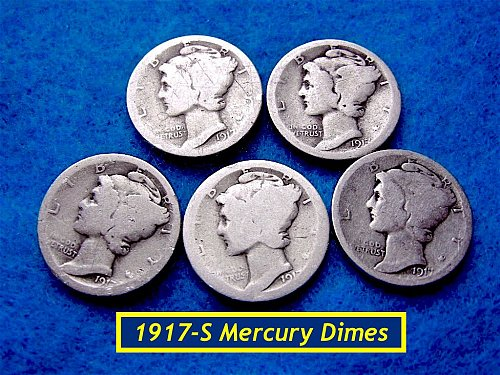 1917-S  Mercury Dimes ☆☆  CIRCULATED  ☆☆   (#3428)••
