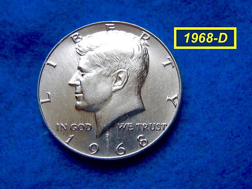 """1968-D  Kennedy Half Dollar •• """"AF-AU"""" •• (40% Silver)  (#1618)"""