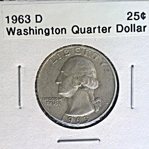 1963 D Washington Quarter Dollar