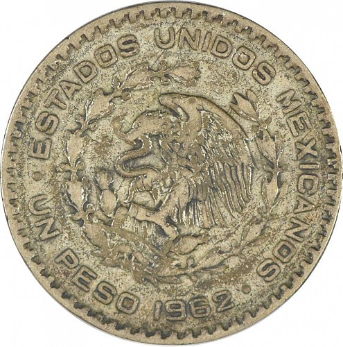Mexico, One Peso, 1962, Circulated, Toned, (Item 373)