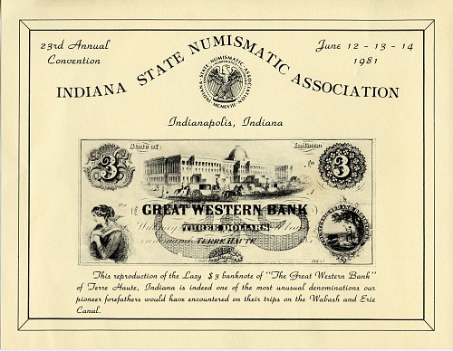 Souvenir Card Indiana State Numismatic Association 23rd. Convention