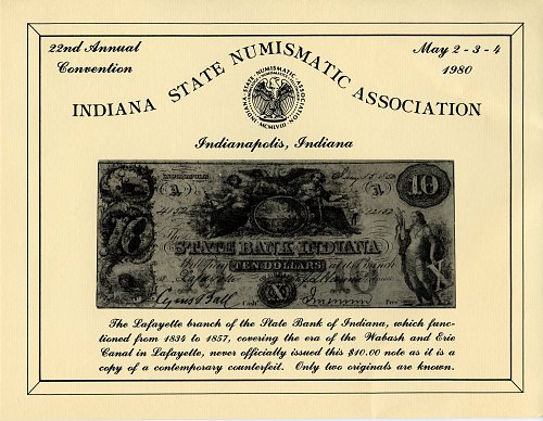 Souvenir Card Indiana State Numismatic Association 22nd. Convention