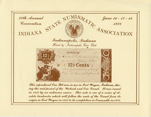 Souvenir Card Indiana State Numismatic Association 20th. Convention