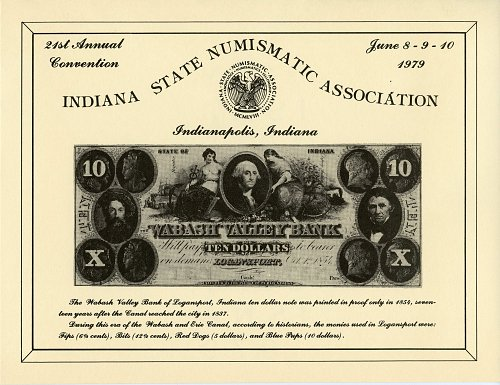 Souvenir Card Indiana State Numismatic Association 21st. Convention