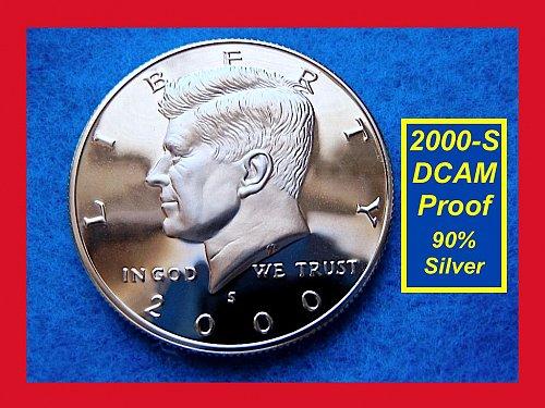 2000-S SILVER PROOF Kennedy Half Dollar •• 'GEM PROOF'    (#1600a)