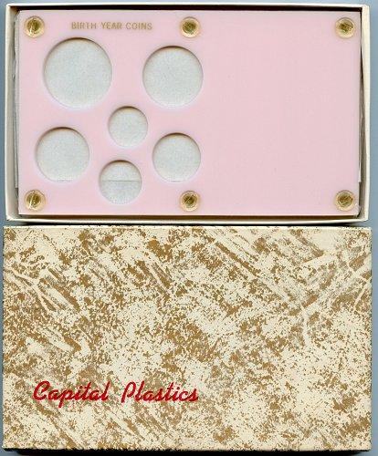 "Capital Plastics "" Birthyear Coins"" 6-Coin Holder, Small Dollar Pink"