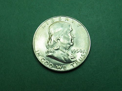 1950 D Franklin Half Dollar Brilliant Uncirculated Coin   h43