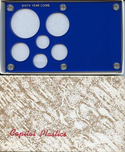 """Capital Plastics """" Birthyear Coins"""" 6-Coin Holder, Large Dollar Blue"""