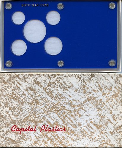 "Capital Plastics "" Birthyear Coins"" 5-Coin Holder, Blue"