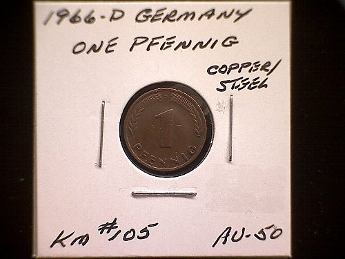 1966D GERMANY ONE PFENNIG