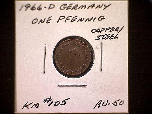 1966D GERMANY ONE PFENNIG