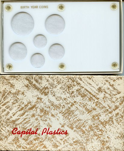 "Capital Plastics "" Birthyear Coins"" 6-Coin Holder, Small Dollar White"