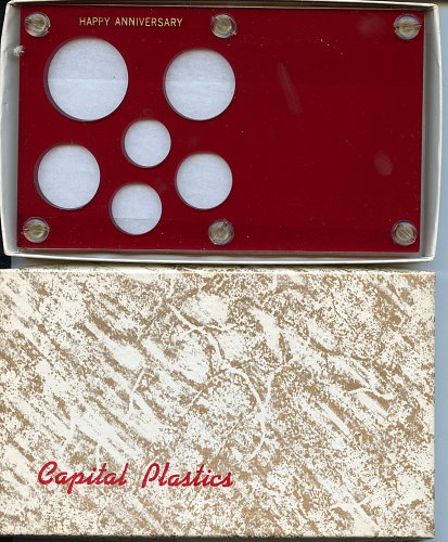 "Capital Plastics ""Anniversary Year"" 6-Coin Holder, Small Dollar Red"