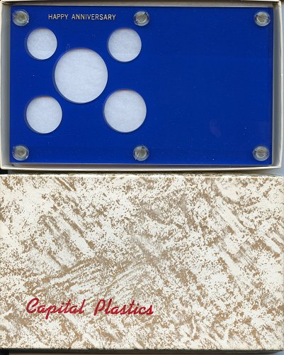 "Capital Plastics ""Anniversary Year"" 5-Coin Holder, Blue"