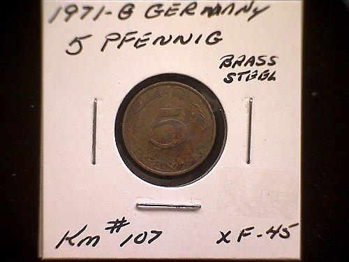 1971G GERMANY FIVE PFENNIG