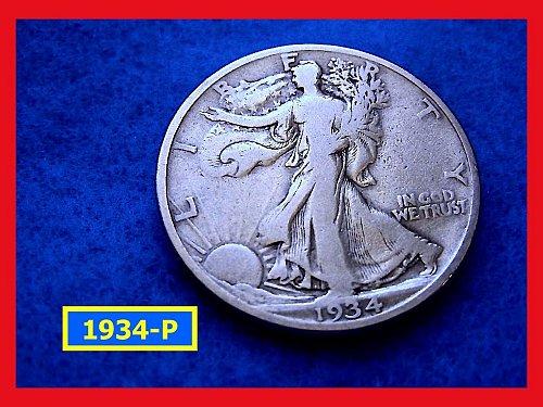 "1934-P  Liberty Walking Half  – ""VF""   (#1611)√"