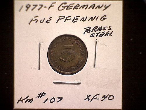 1977F GERMANY FIVE PFENNIG