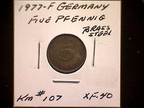 1977F GERMANY FIVE PFENNIG