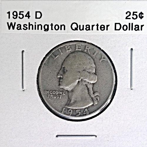 1954 D Washington Quarter Dollar