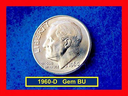 "1960-D  Roosevelt Dime Gem ""BU"" Silver Dime   (#3293)"